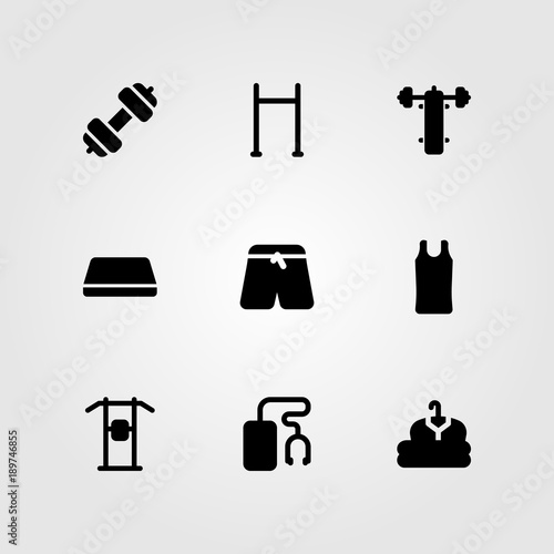 Fitness vector icon set  cloth, sport shirt, bench press and