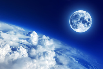 Sky clouds below the moon, moon image furnished by NASA