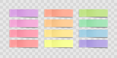Vector colorful sticky notes, post stickers with shadows isolated on a transparent background. Multicolor paper adhesive tape, rectangle empty office blanks, reminder lists. Great for banner Wall mural