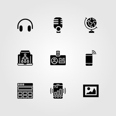 Essentials vector icon set. picture, microphone, earth globe and smartphone