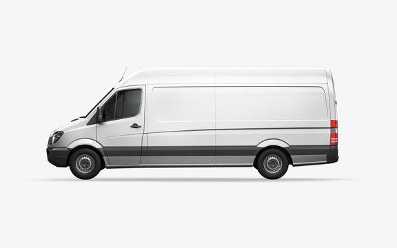 3D render van on a white background