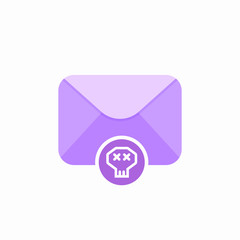 Email emoji envelope letter mail message send skull icon
