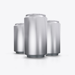 3D render metal cans on a white background