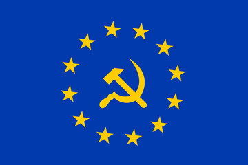 European Union as socialist and leftist institution. Vector illustration of hammer and sickle on blue field with yellow stars.