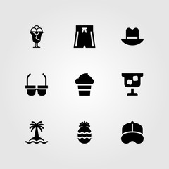 Summertime vector icon set. swimsuit, tree, cocktail and pineapple