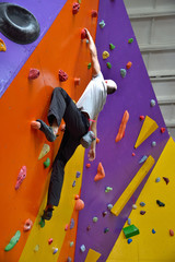 Climber On Artificial Climbing Wall