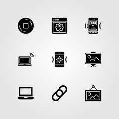 Essentials vector icon set. presentation, stop, link and stop button