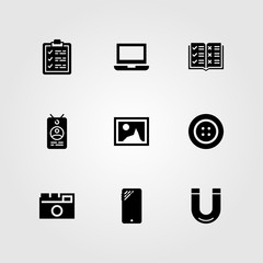Essentials vector icon set. clipboard, button, open book and picture