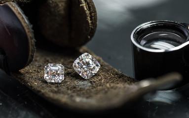 Luxury diamonds on the leather