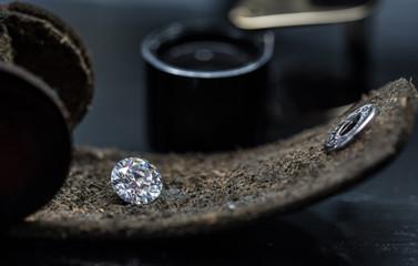 Round Cut Diamond on The Leather