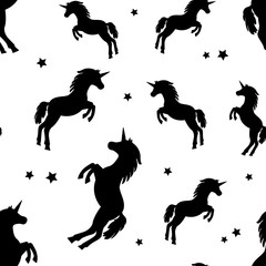 Seamless pattern with black silhouettes unicorns and stars on white background. Vector illustration