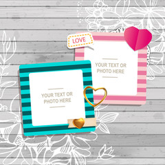Decoration vector template frames. Photo frames you can use for kids picture or memories. Scrapbook design concept. Insert your picture.