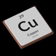 Chemical Element Copper Embossed Metal Plate on a Black Background