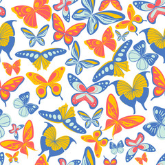 Seamless pattern of flying butterflies blue yellow and orange colors vector illustration on white background website page and mobile app design