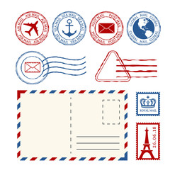 Post stamps, post marks and post mail collection