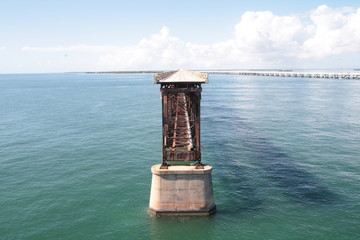 Overseas highway - interrupted old seven mile bridge, florida keys.