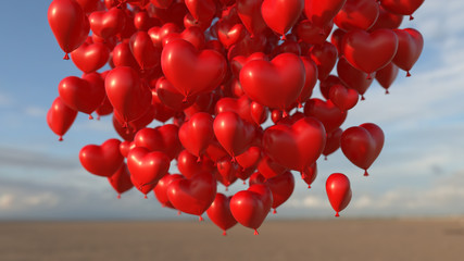 red hearts balloons over blue sky. Love, valentines day, romantic, wadding or birthday background