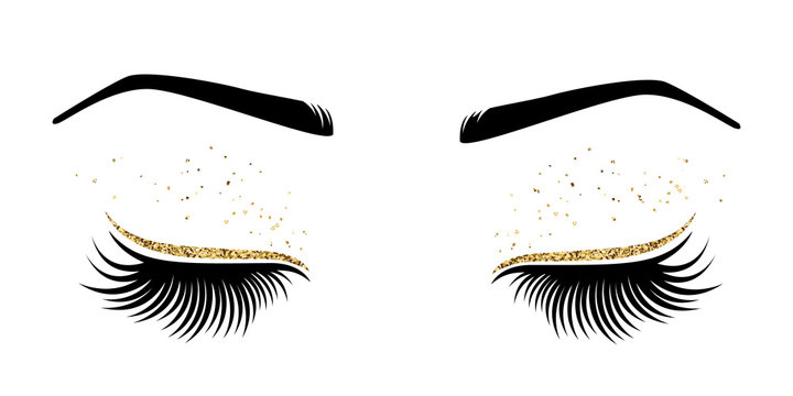 Vector illustration of eyes with long eyes lashes