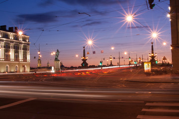 White Nights. The exit of the Troitsky Bridge, Saint-Petersburg Russia.