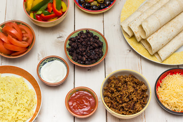 Ingredients to make mexican burritos