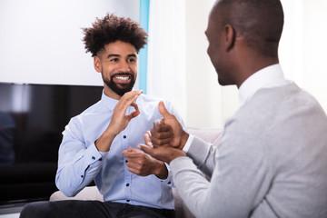 Two Happy Men Making Sign Language Fotoväggar