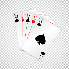 A royal straight playing cards poker hand