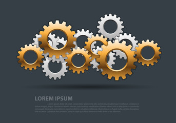 Abstract gears gold silver overlap on gray design modern industrial futuristic background vector illustration.