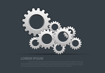 Abstract gears silver overlap on gray design modern industrial futuristic background vector illustration.