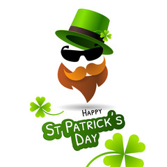 Symbol of Saint Patrick's Day character leprechaun with green hat, beard and glasses.