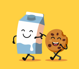 Cartoons of fun characters milk and cookies.