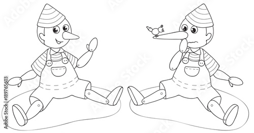 Pinocchio the liar puppet coloring vector