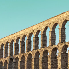 Photo of ancient Roman aqueduct in Segovia, Spain
