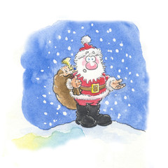 santa and snow cartoon