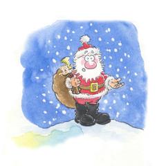 santa and snow cartoon