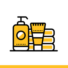 Outline icon Toiletries. Hotel services. Suitable for print, website and presentation