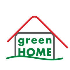 Green home logo house illustration