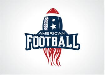 American Football Fire Logo Template Design Vector, Emblem, Design Concept, Creative Symbol, Icon