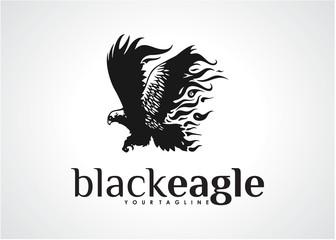 Black Eagle Logo Template Design Vector, Emblem, Design Concept, Creative Symbol, Icon