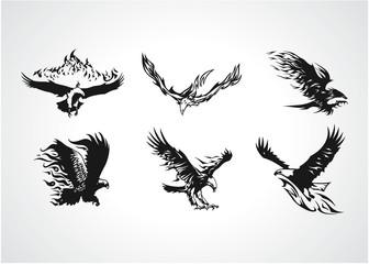 Black Eagle Vector Silhouette