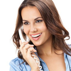 Young woman with phone, on white