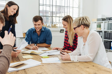 Successful business team holding a meeting