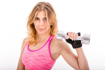 Sporty Young Woman Training with Dumbbells. Healthy Life Concept.