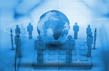 Digital global business in blue