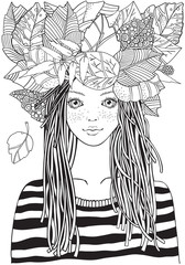 Cool young girl in a striped sweater with autumn leaves . Adult Coloring book page. Young woman. Black and white Zentangle style.