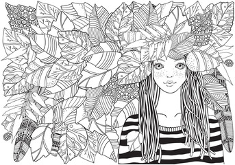 Cool young girl in a striped sweater with autumn leaves . Adult Coloring book page. Young woman. Black and white Zentangle style. . A4.