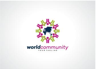 World Community Logo Template Design Vector, Emblem, Design Concept, Creative Symbol, Icon
