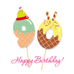 Happy Birthday card. Festive sweet numbers 90. Coctail straws. Funny decorative characters. Vector