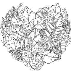 Floral Doodle Heart Shaped Pattern In Vector With Autumn Leaves Design Asian Ethnic