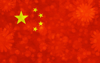 Chinese flag with blooms scattered around