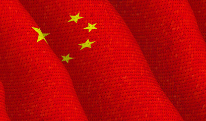 Illustraion of Chinese Flag with a fabric pattern